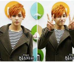 orange hair, v, and bts image