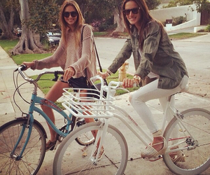 alessandra ambrosio, bike, and happy image