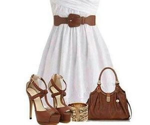dress, white, and brown image