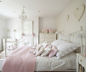 bedroom, white, and pink image