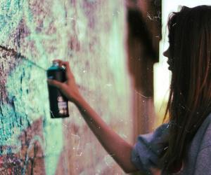 girl, graffiti, and art image