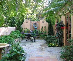 outdoor furniture, exterior., and stone pathway image