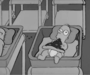 baby, pizza, and simpson image