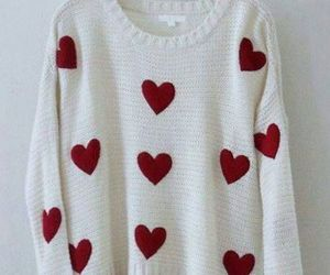 fashion, sweater, and heart image