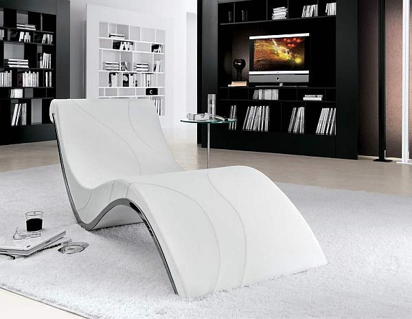 Wonderful Contemporary White Chaise Lounge In The Grey Rug Near Black Shelves And