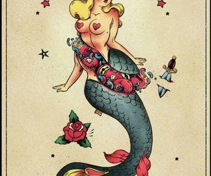 drawing, illustration, and mermaid image