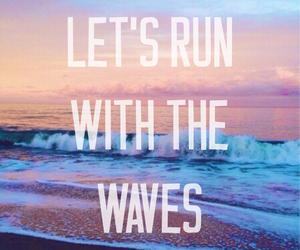 waves, ocean, and run image