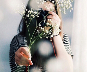 flowers, camera, and girl image
