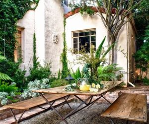 dinning table, house, and garden image