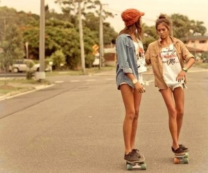 girl, friends, and skate image
