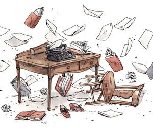 illustration and typewriter image