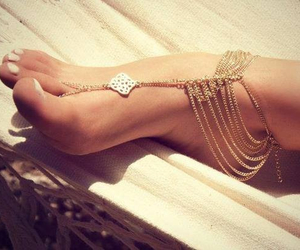 gold, feet, and jewelry image