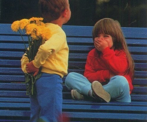 boy, flower, and girl image
