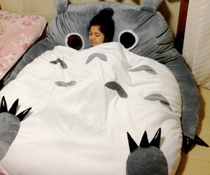 bed, sleep, and totoro image