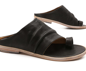 black, flat, and sandals image