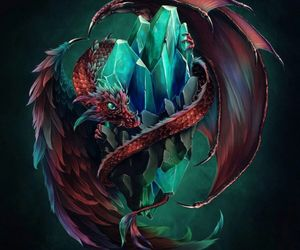 red dragon, scales, and wings image
