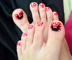 minnie mouse, pedicures, and nail swag image