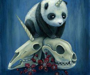 dark, panda, and licorne image
