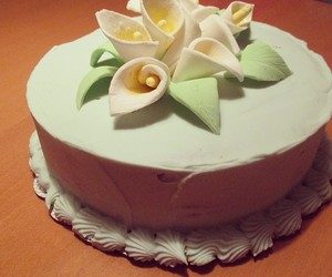 baker, cake, and flowers image