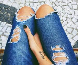 jeans, fashion, and tattoo image