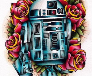 r2d2, star wars, and drawing image