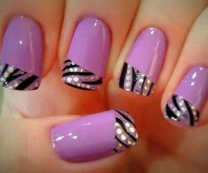 black, nail art, and paillettes image