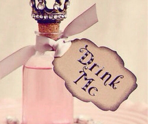 alice in wonderland, drink me, and alice image