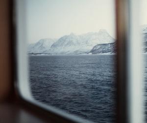 sea, mountains, and window image