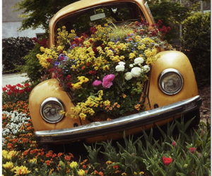 car, colorful, and flowers image