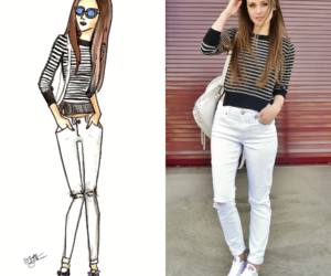 fashion blogger, striped sweater, and white jeans image