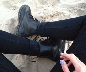 black, cigarette, and boots image