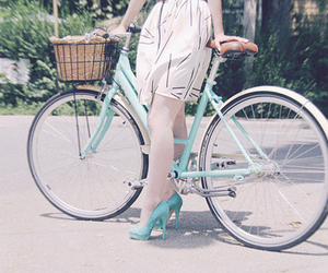 girl, bike, and blue image