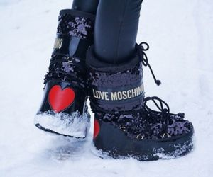 Moschino, snow boots, and love image