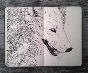drawing, wolf, and draw image
