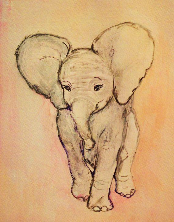 Pastel Pink Elephant Original Painting Easy To Frame Nursery Room