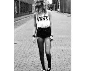 vans, outfit, and black and white image