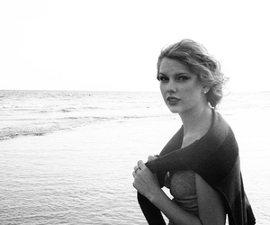 Taylor Swift, beach, and black and white image