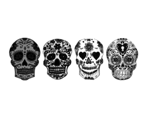 background, skulls, and black and white image