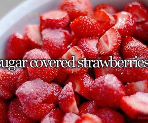 strawberry, sugar, and food image