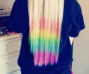 hair, blonde, and rainbow image