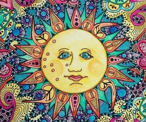 sun, art, and hippie image