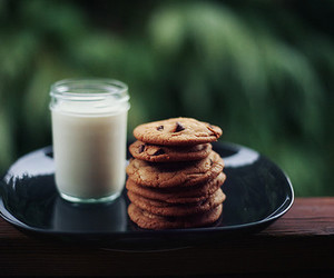 chocolate chip, food, and cookies and milk image