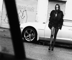 Mila Kunis, black and white, and car image