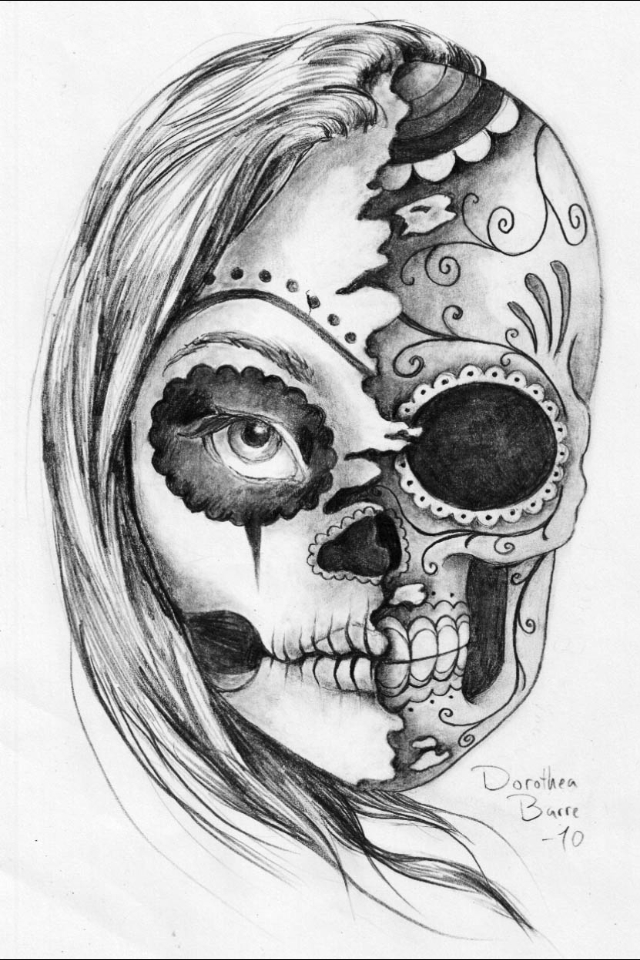 Sugar Skull Drawing Shared By Cassie On We Heart It