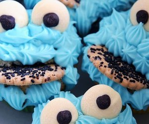 food, blue, and cookie image