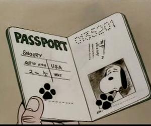 cartoon, passport, and snoopy image