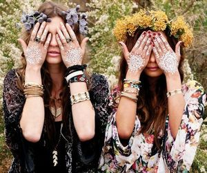 flower crown, henna, and cute image