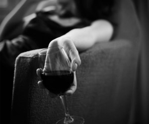 black and white, hand, and wine image