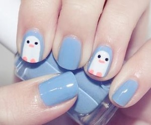 nails, blue, and penguin image