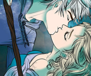 elsa, jack frost, and kiss image